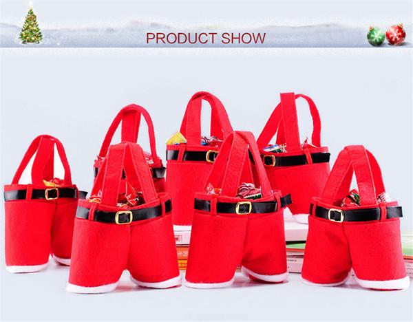 New Christmas Santa Claus Pants Candy Gift Bag Xmas Wine Bottle Handbag Wedding Red Color Nonwoven Gift Bags Decoration Hot