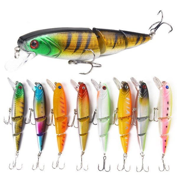 Fishing Lure 8-color Colorful Three-section Lures Bait 11.5cm/15g Artificial Bionic Multi-section Minnow Bait Outdoor Fishing Gear Wholesale