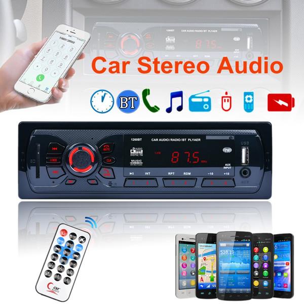 Novo 12 V Car Bluetooth Estéreo Rádio FM MP3 Player de Áudio Receptor de Entrada Aux SD MP3 USB Rádio 1 DIN Em-Traço CAU_016