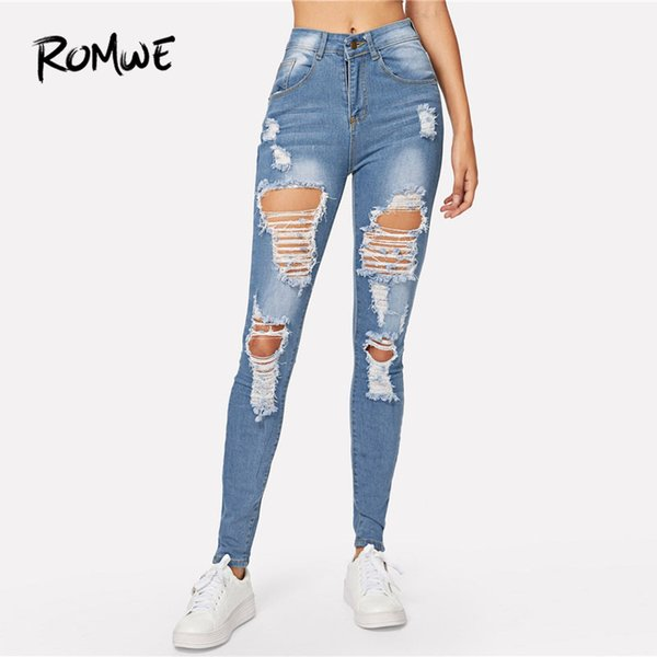 Blue Ripped Bleach Wash Skinny Denim Jeans Spring Women Casual Button Mid Waist New Style Trousers Fashion Long Pants