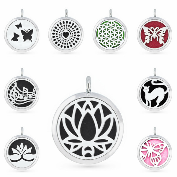 top popular Lotus Flower Butterfly 30mm Magnet Essential Oil Aromatherapy Perfume Pendant Diffuser Locket Pendant Fit For Necklace Women Jewelry 2021