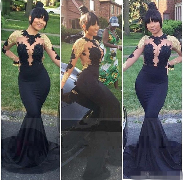 2018 New African Black and Gold Mermaid Prom Dresses Long High Neck Satin Sexy See Through Open Back Long Sleeve Prom Evening Gowns