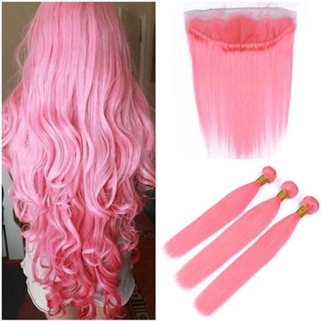 Индийские девственные человеческие волосы окрашены в розовый цвет волос ткет 3 пучка с 13x4 кружева фронтальной закрытия свободного среднего три части прямые розовые волосы утки