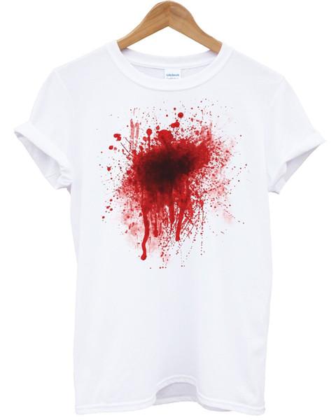 Salpicadura de sangre Camiseta Scary Halloween Fancy Dress Traje Rápido Scary Wound TopFunny envío gratis Unisex Casual regalo