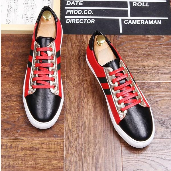 NEW arrival Men Shoes Lace-up Shoes white red embroidery Leather Real Leather Mens Moccasins Italian Design Loafers Shoes