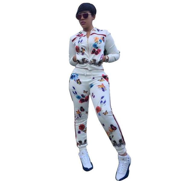 zhouzhaoyu / Sexy Two Piece Set Mulheres fatos de Treino Flor Borboleta Impressão Com Zíper Jaqueta Top Colheita e Calças Mulher Trilha Terno 2 Peça Outfit
