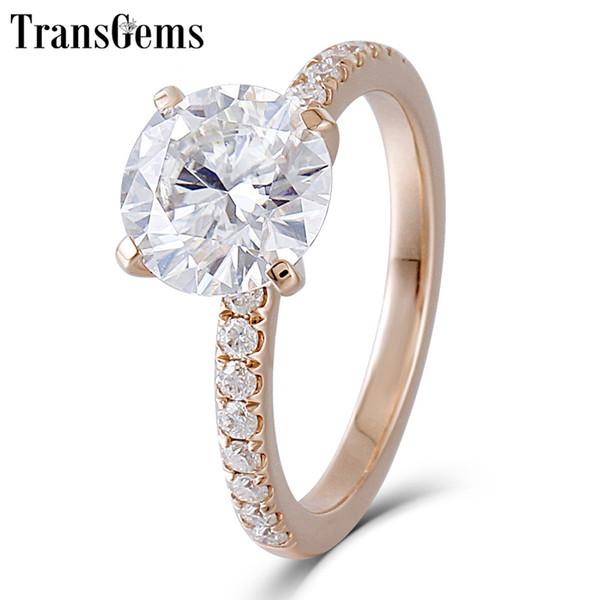 Transgems 14K Rose Gold Moissanite Bague de Fiançailles Centre 8mm F Couleur Moissanite Bague à Diamant pour les Femmes Bijoux De Mariage
