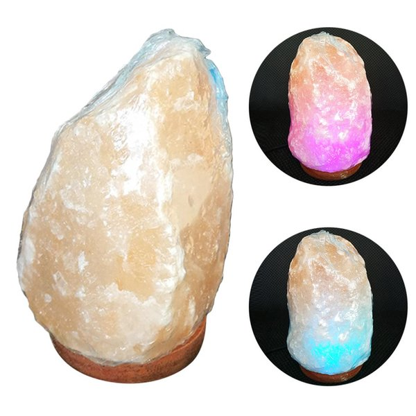 Natural Hand Carved USB Wooden Base Himalayan Crystal Rock Salt Lamp Air Purifier Night Light Natural salt lamp