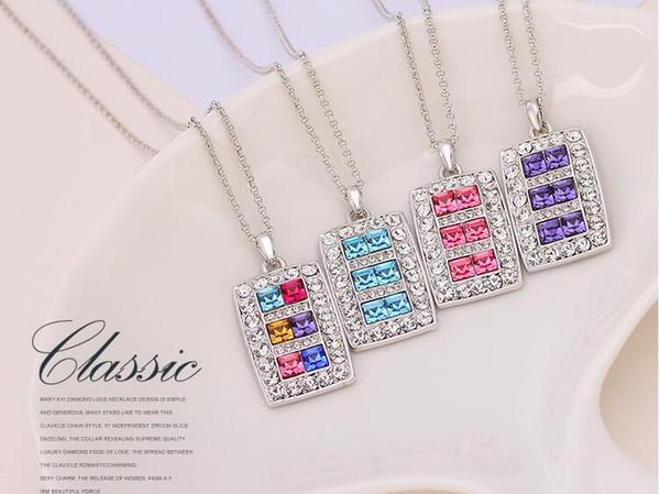 12 Ensembles / lot, LIXINTAI carrés Colliers de cristal en Autriche incrustés Pendentif de Swarovski Crystal Lover's Pendant Bijoux de boutique scintillants
