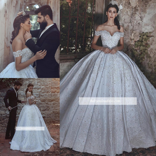 Vintage Arabic Ball Gown Wedding Dresses 2018 Off The Shoulder Applique Lace Up Full Length Said Mhamad Bridal Gowns Plus Size BA7872