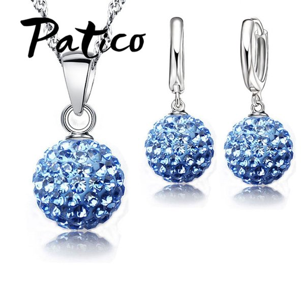 PATICO Hot New Jewelry Sets 925 Sterling Silver Austrian Crystal Pave Disco Ball Lever Back Earring Pendant Necklace Woman