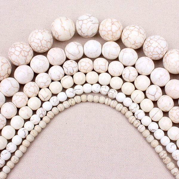 8mm 1 strand/pack 4,6,8,10,12mm White Howlite Striated Natural Stone Loose Beads Jewelry Findings For Bracelet Necklace
