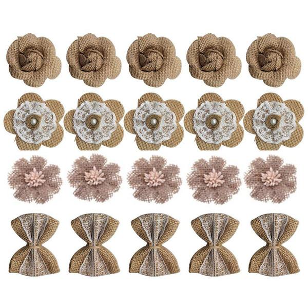 20 UNIDS Hecho A Mano Arpillera Flores de Rosas de Encaje Rústico para DIY Fabricación Artesanal y Decoración Del Banquete de Boda En Casa de Navidad