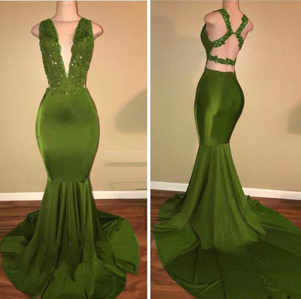 2018 African Olive Green Mermaid Prom Dresses Satin Beaded Lace Appliqued Sweep Train Arabic Evening Party Gowns