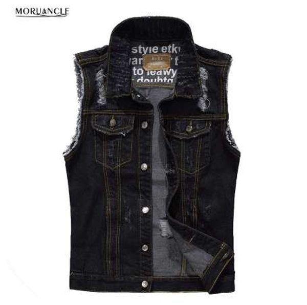 MORUANCLE Moda erkek Yırtık Kot Yelek Slim Fit Sıkıntılı Kolsuz Kot Ceket Adam Siyah Yelek Boyutu M-XXXL