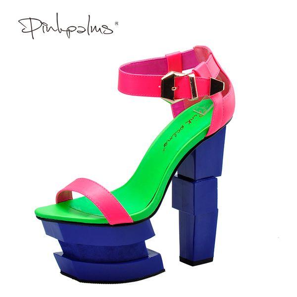 Pink Palms summer sandals sexy women high heels sandals sweetly blush fashion buckle thick women platform
