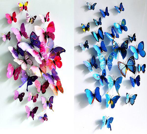 3D Kelebek Duvar Sticker Simüle Kelebekler 3D Kelebek Çift Kanat Duvar Dekor Sanat Çıkartmaları Ev Dekorasyon
