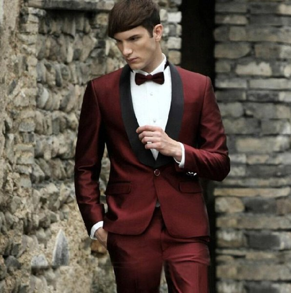 Burgundy Wedding Suits for Men Suit Jacket Prom Tuxedo Slim Fit Groom Custom 2 Piece Blazer(Jacket+Pants) L652