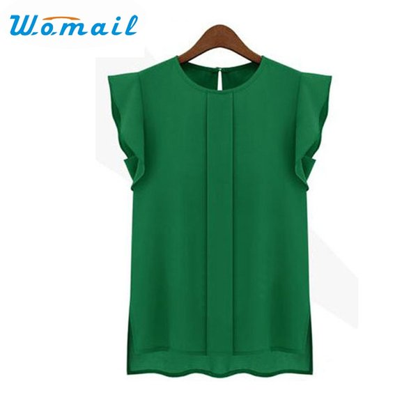 Womail Shirt Newly Design 1PC Womens Casual Loose Chiffon Flower Sleeve Vest Tank Tops 160505