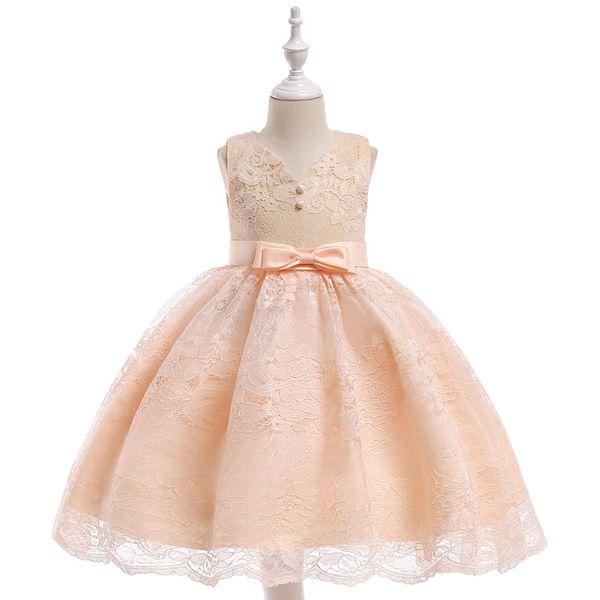 Newest V-neck kids dresses Fashion Lace Girls dresses high-quality Bow piano show dresses 3 colors L5020
