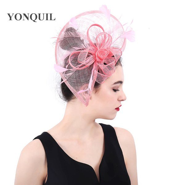 Womens Net Navy Pink Elegant Fascinator Hat Bridal Feather Hair Clips Headwear Philippines Sinamay Ladies Days Tea Chapeau caps SYF378