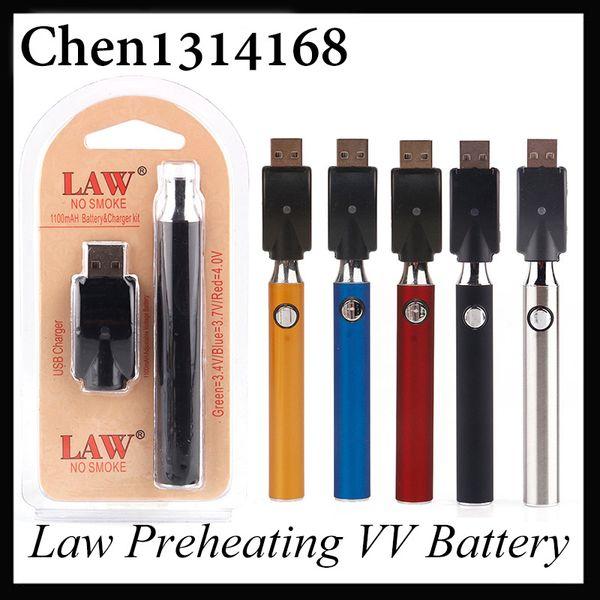 Paquete de ampolla de batería de precalentamiento de ley con kit de cargador USB 1100/650 / 350mah Precalentamiento O Pen Bud Tacto Batería de voltaje variable Precalentamiento 0266177-1