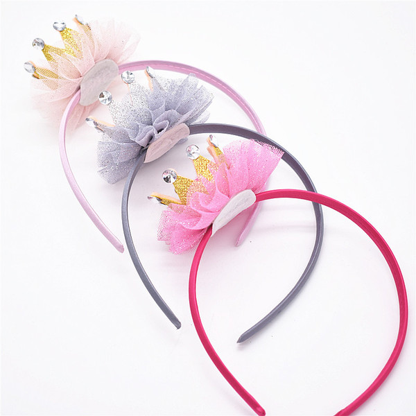 9pcs hair bands hair hoops accessories for girls baby with crown Lace ribbon flower bows headbands headwear FG101