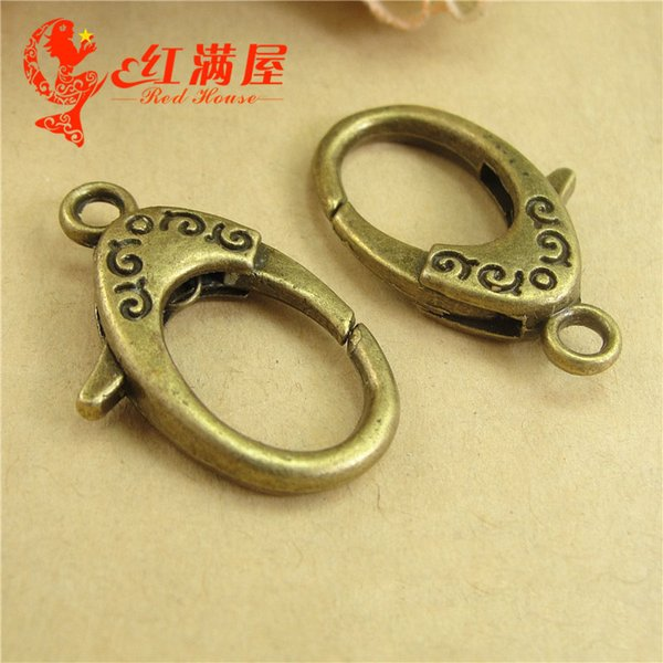 19*30MM Handmade DIY ornament accessories zinc alloy lobster clasps and hooks button key ring, bronze big metal jewelry findings