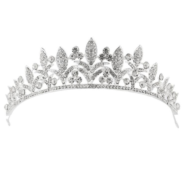 Luxury Leaf Flower Crystal Bridal Tiaras Crown Wedding Party headpieces for women hair accessories Silver plated