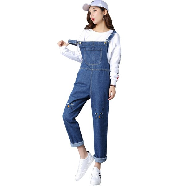 Women Denim Jumpsuits 2018 Autumn Female Embroidery Cat Denim Strap Overalls High Waist Loose Jeans Romper Haroun pants