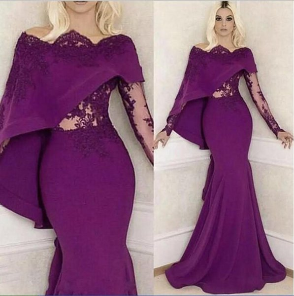 Vintage Grape Long Sleeves Evening Dresses 2019 Mermaid Illusion Appliques Top with Cape Long Party Pageant Prom Gowns Mother Dress Arabic