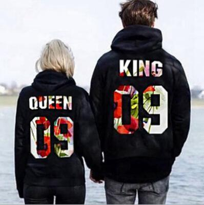 Men Women Couples Hoodies  09 Printing Black Tops Autumn Winter New Male Female Lovers Sweatshirt Valentine' s Day Gift