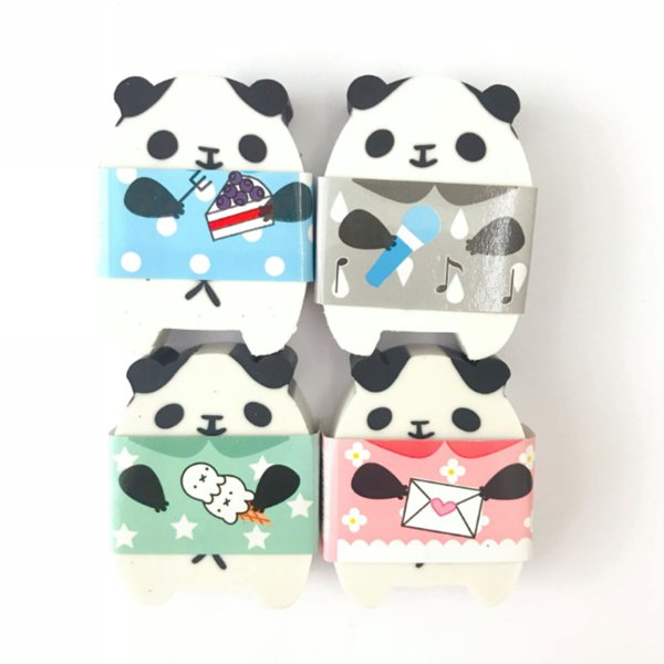 1 Pcs Cartoon Happy Panda Eraser Rubber Pencil Erasers Correction School Office Supply Student Stationery Kid Gift