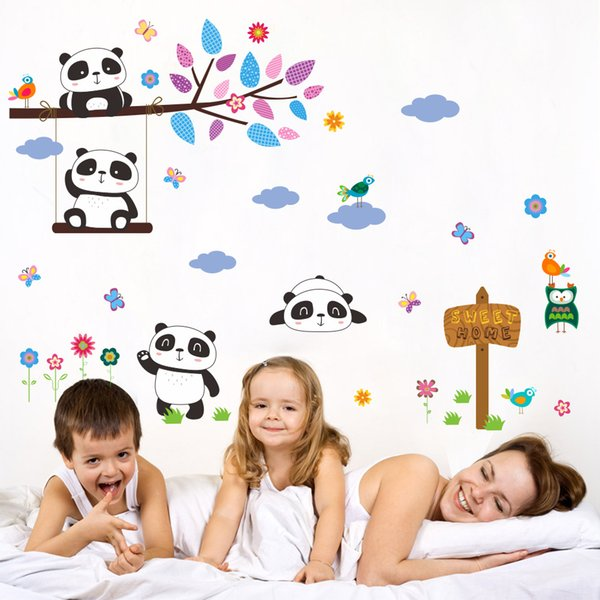 DIY Cartoon Animals Wall Art Sticker Pvc Removable Panda Tree and Cloud Wall Decals for Kids Room and Nursery Decoration
