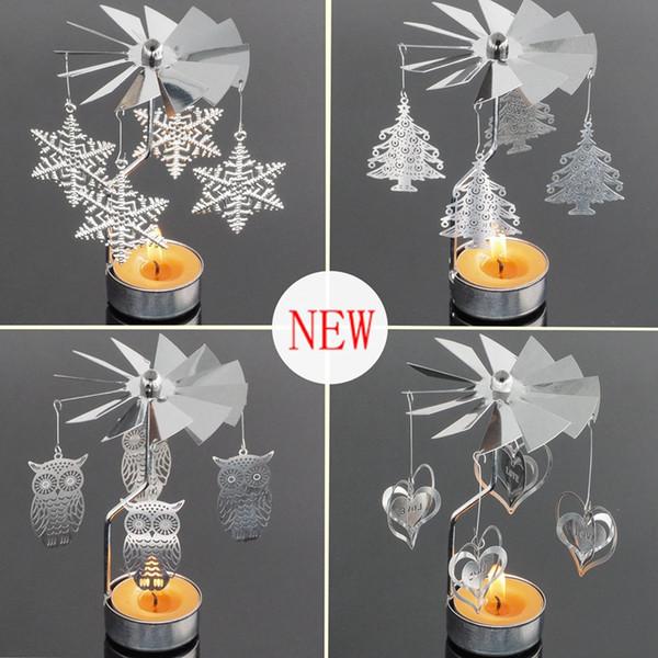 2018 candelabro creativo europeo caliente candelero rotatorio molino de viento giratorio candelero rodando titular de vela de metal 5 estilo
