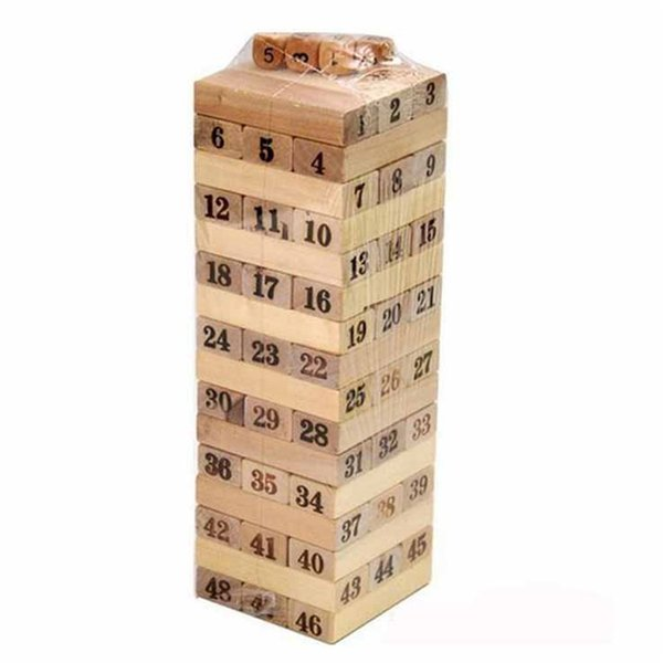 Children Wooden 48PCS Digit Numbers Blocks Stacked Layers Building Blocks Educational Toys For Kids Gift 0-3 Years Old Girls Boys Gift