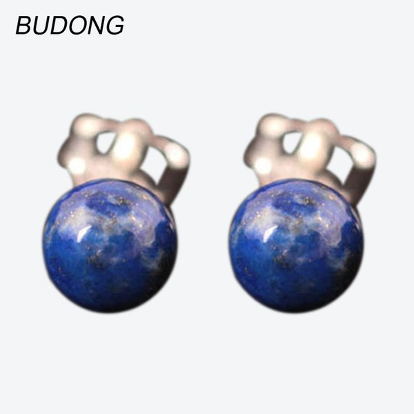 BUDONG Real 925 Sterling Silver Earring for Women Fine Jewelry Round Ball Natural Blue Lapis Stone Stud Earring Girl Gift