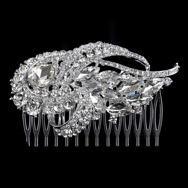 2019 Förderung Heißer Verkauf Haar Kämme Feis Großhandel Glänzende Pferdeauge Tropfen Luxuriöse Kristallhaarschmuck Pins Braut Hochzeit Zubehör
