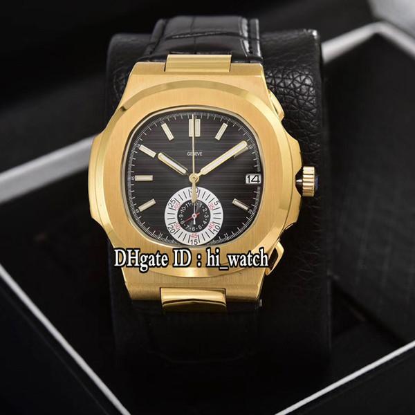 Nuevo Nautilus Classic 5980 Oro amarillo Dial negro Miyota VK Cronógrafo de cuarzo Reloj para hombre Relojes deportivos de cuero negro 9 colores 303d4