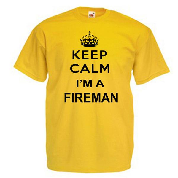 Behalten Sie das erwachsene T-Shirt der ruhigen Feuerwehrmann-Männer Lustiges freies Verschiffen Unisexbeiläufiges T-Stück Geschenk
