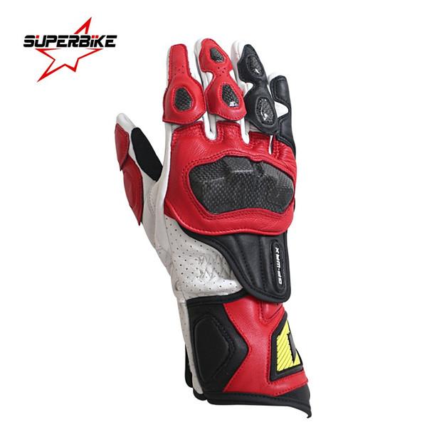 Motorcycle Gloves Men Genuine Leather GP PRO Carbon Fiber Moto Glove Cycling Racing Equipment Motocross Luvas de motocicleta