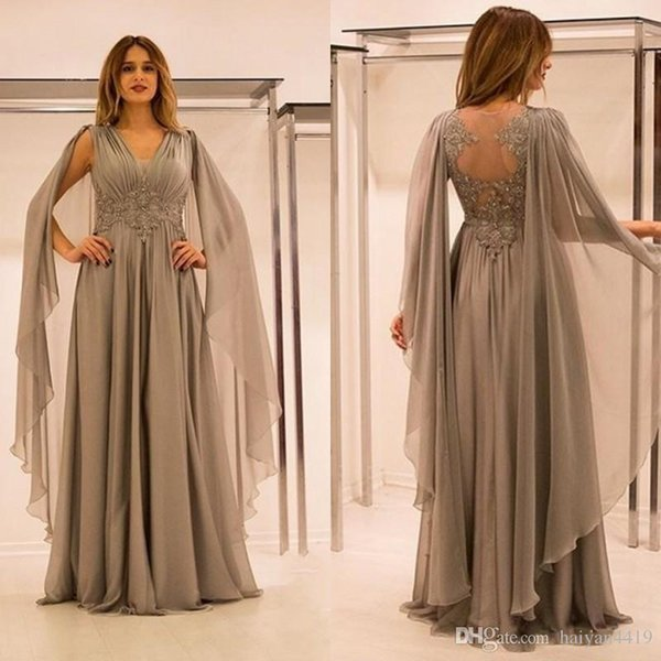 New Mother Of The Bride Dresses V Neck Lace Appliques Beaded With Cape  Silver Chiffon Plus Size Party Dress Formal Evening Gowns Plus Size Mother  Of ...