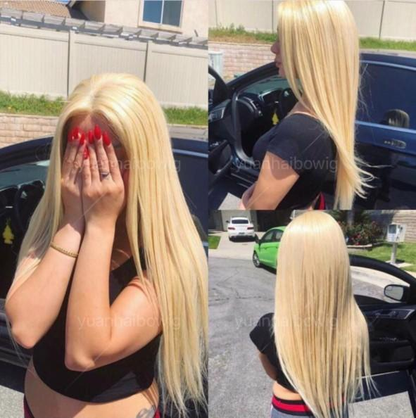 613 Blonde Full Lace Wig 10A Virgin Chinese Human Hair Color Lace Wigs Celebrity Wig Silky Straight Yellow Front Lace Wig Free Shipping