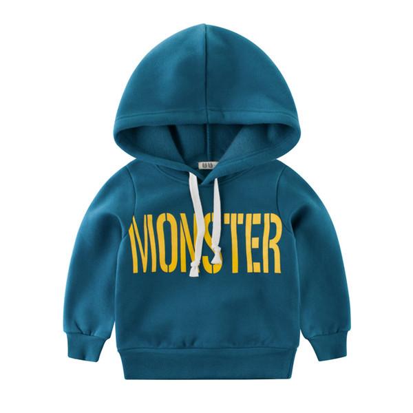 60a195fa5 Monster baby hoodies hooded kids cool boy Sweatshirts 2-10Y children tops  good quality