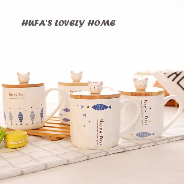 HUFA'S LOVELY HOME Cat And Fish Ceramic Stereoscopic Cartoon Mug Creative Gift With Covered Spoon Animal Coffee Milk Cup