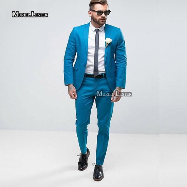 Muriel Lester New Blue Sky Vestito da uomo Slim Fit Smoking dello sposo Tailor Made Suit Bespoke Light Blu navy Wedding Suit For Men 2018