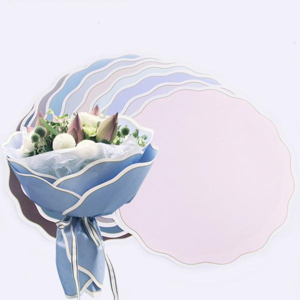 Hochzeits-Verpackungs-Blumen-runde geplätscherte Rand-Blumen-Verpackungspapier-Wellen-Kreis-Floristen-Blumen-Verpackungspapier-Braut-Blumenstrauß-Dekoration 20pcs / lot