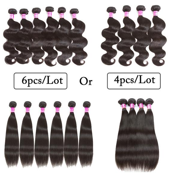 100% Unprocessed Brazilian Body Wave Straight Human Hair Weave 4pcs Lots OR 6pcs Lots Brazilian Human Hair Wefts Machine Double