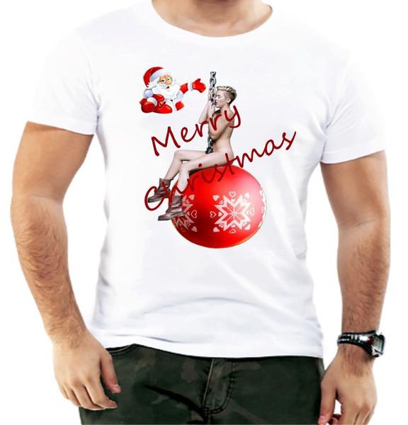 Merry Christmas Miley Cyrus Santa Sexy Xmas Present Men T shirt Funny Design Men T-Shirt Lowest Price 100 % Cotton