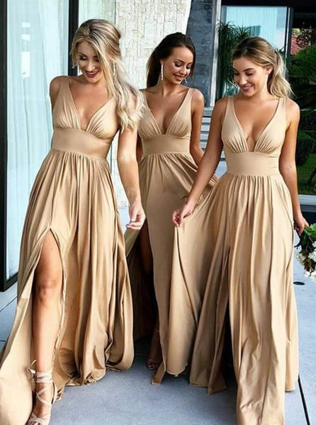 A Line Bridesmaid Dress Sweetheart Cap Sleeve Chiffon Front Slit Pleated Empire Vestidos De Maid Of Honor Formal Dresses For Wedding Guest